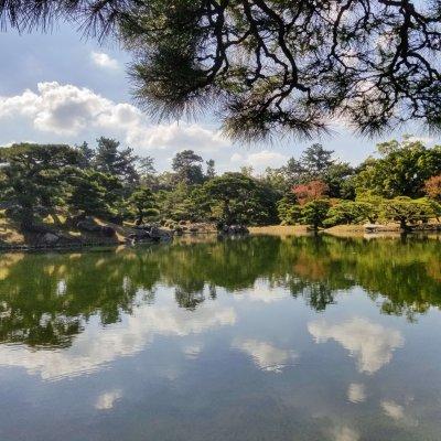香川 栗林公園 日本庭園 水辺