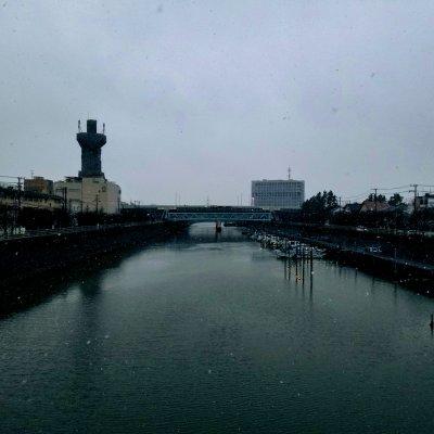 新浦安 境川中央歩道橋 雪
