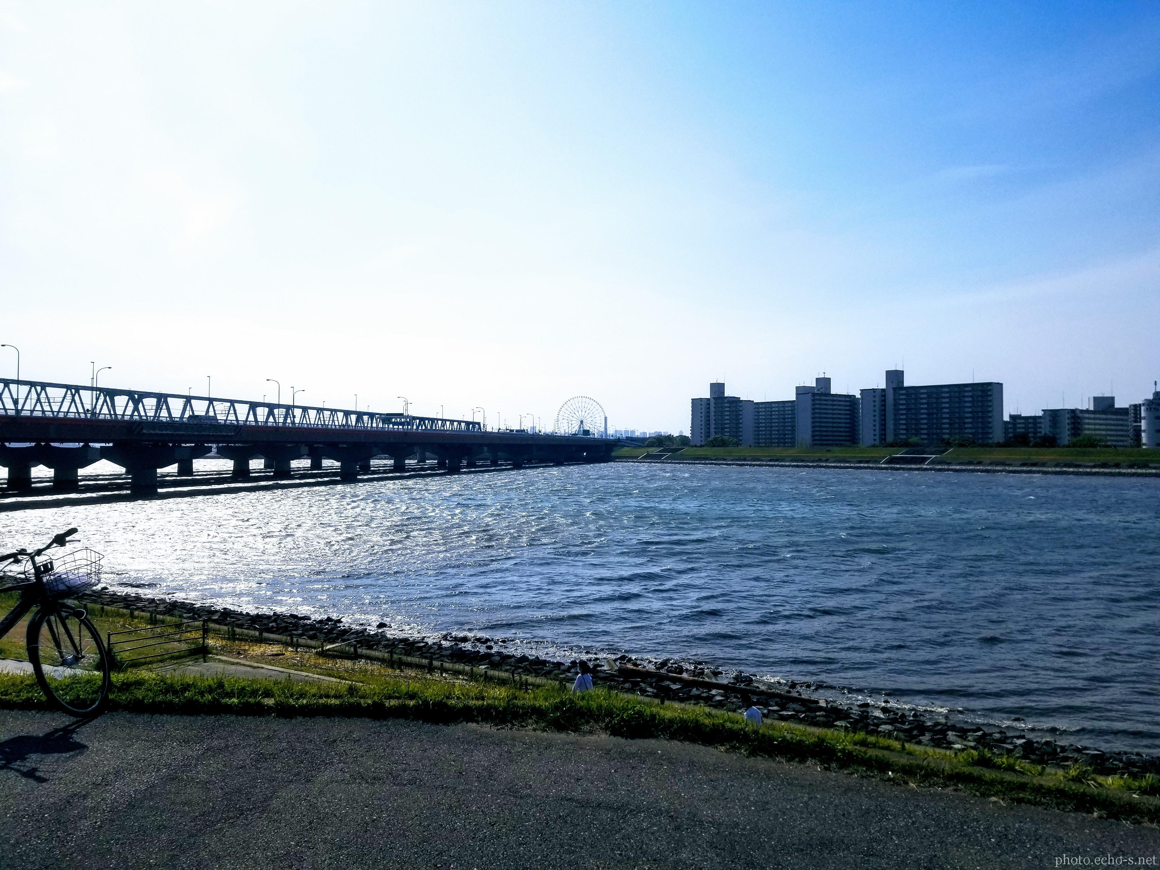 舞浜 旧江戸川 河川敷 昼間