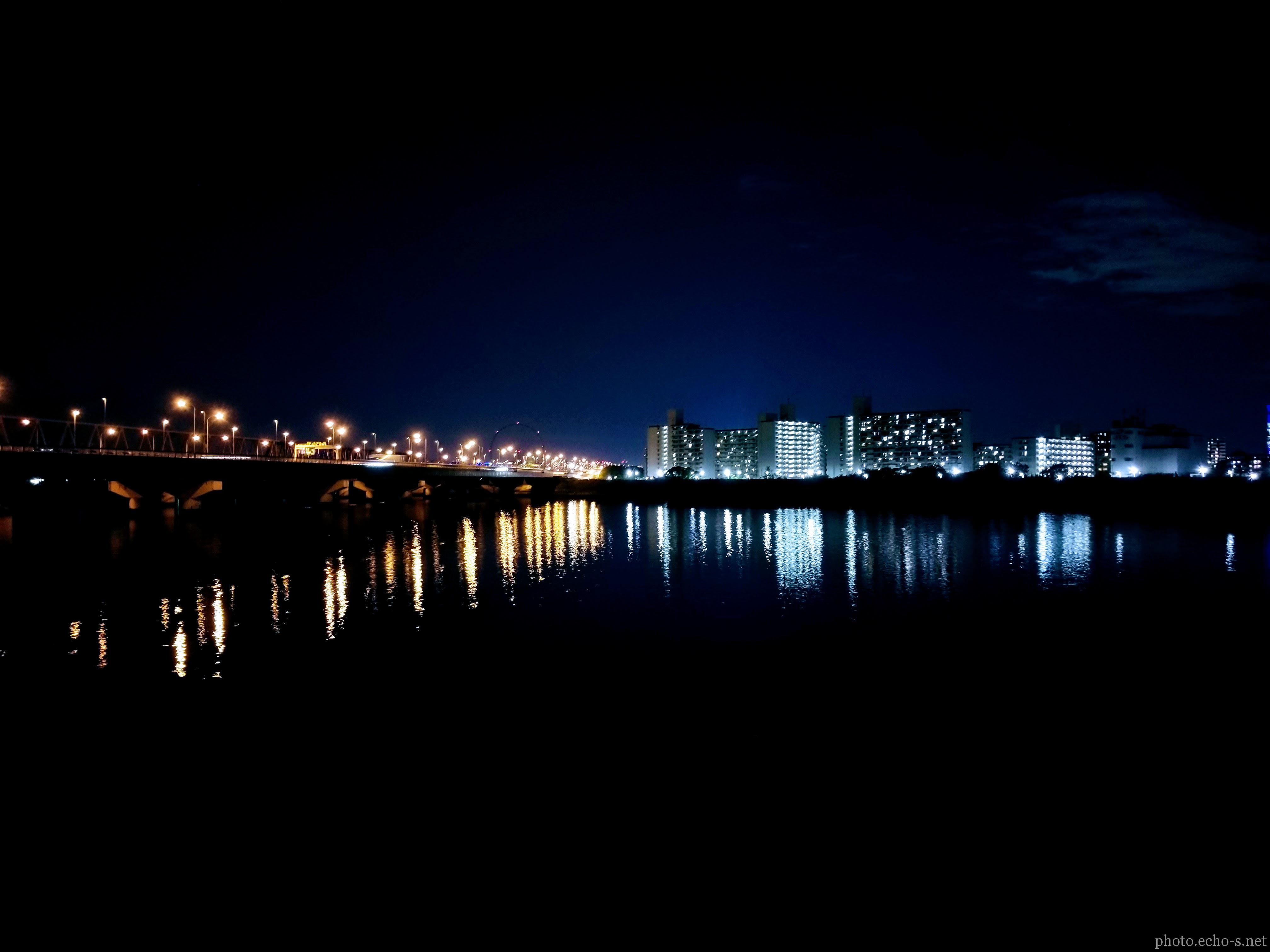 舞浜 旧江戸川 舞浜大橋 河川敷 夜
